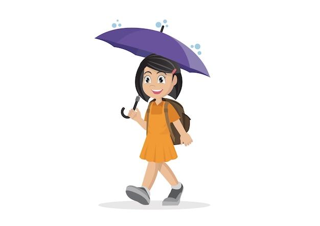 Schulmädchen mit regenschirm im regen.