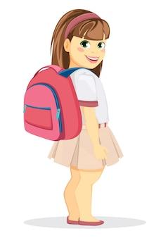 Schulmädchen mit rucksack