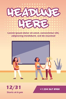 Schulmädchen treffen sich in der klassenzimmer-flyer-vorlage
