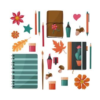 Schulmaterial festgelegt. notizbücher, skizzenbuch, pinsel, farben, kugelschreiber, bleistift, marker.