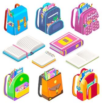 Schulmaterial schulranzen und bücher taschen set icon