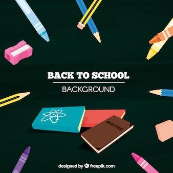 Schulmaterial und bücher mit schwarzem hintergrund