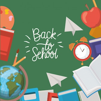 Schulmaterial zurück zum schulrahmen