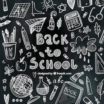 Schulmaterialien mit kreide gezeichnet