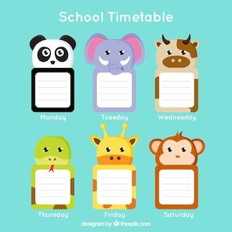 Schulplan mit schönen tieren