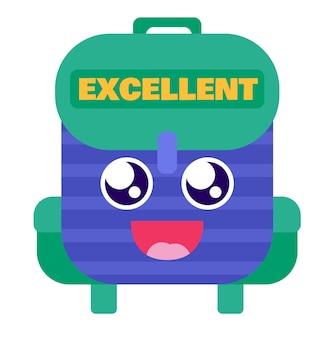 Schulrucksack ausgezeichneter belohnungsaufklebervektor. lustige glückstasche mit süßen augen und lächeln zum tragen und aufbewahren von buch und notizbuch. flache karikaturillustration des lachenden rucksacks
