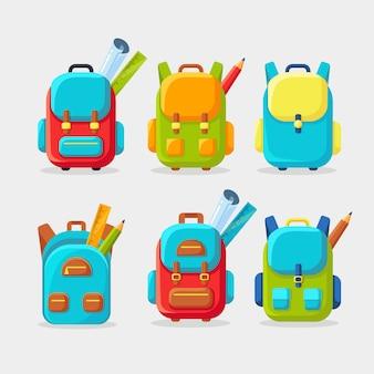 Schulrucksack gesetzt. kinderrucksack, rucksack lokalisiert auf weißem hintergrund. tasche mit vorräten, lineal, bleistift, papier. schulranzen. kindererziehung, schulanfangskonzept. flache illustration