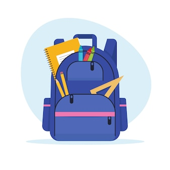 Schulrucksack mit notizbuch, lineal und stiften. bildungs- und studienschule, rucksackkonzept. illustration im flachen stil