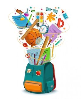 Schulrucksack mit schreibwaren und lernmaterial
