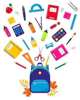 Schulrucksack und fliegendes zubehör-set zurück zum schulkonzept schul- oder büroausstattung