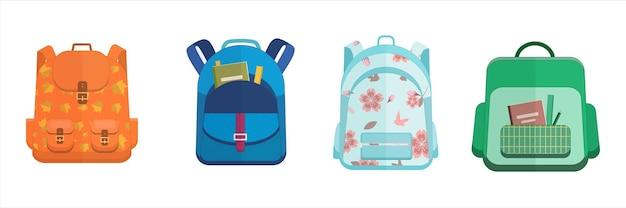 Schulset rucksack vierer rucksack orange dunkelblau grün blumen- und blattdruck