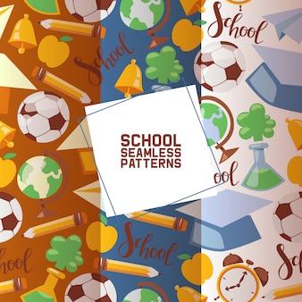Schulstationärer satz nahtlose muster scherzt bildungsausrüstung. schulmaterial, buntes bürozubehör wie fußball, globus