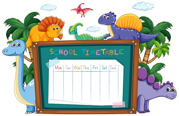 Schulstundenplan mit dinosaurier