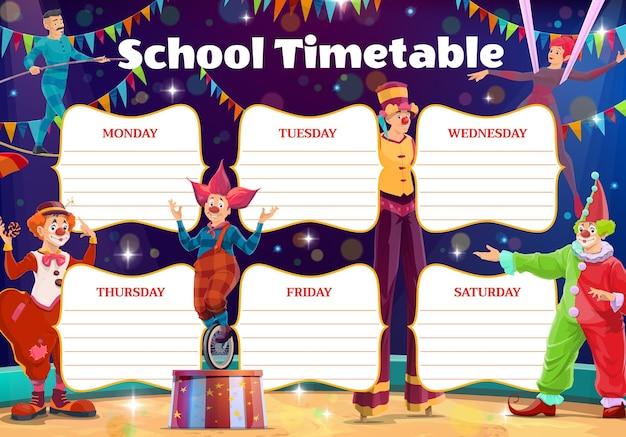 Schulstundenplan mit zirkusclowns und darstellern