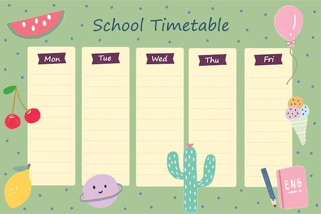 Schulstundenplan vorlage