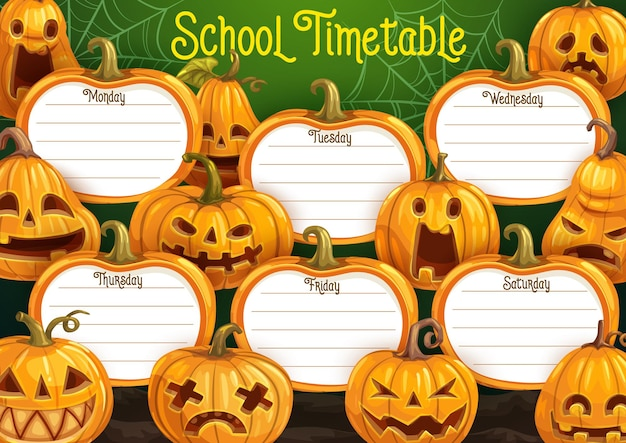 Schulstundenplan, wochenplan vektorvorlage mit cartoon halloween jack-o-laterne kürbisse. bildungsplaner mit gruseligen charakteren. stundenplan mit spinnennetz und gesäumten unterrichtsplätzen