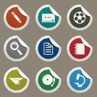 Schulsymbole für websites und benutzeroberfläche eingestellt