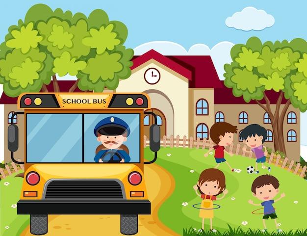 Schulszene mit busfahrer und kindern im park