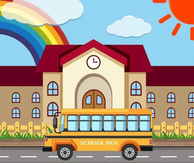 Schulszene mit gebäude und bus