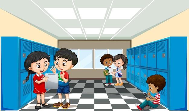 Schulszene mit schüler-cartoon-figur