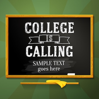 Schultafel mit hochschule ruft text