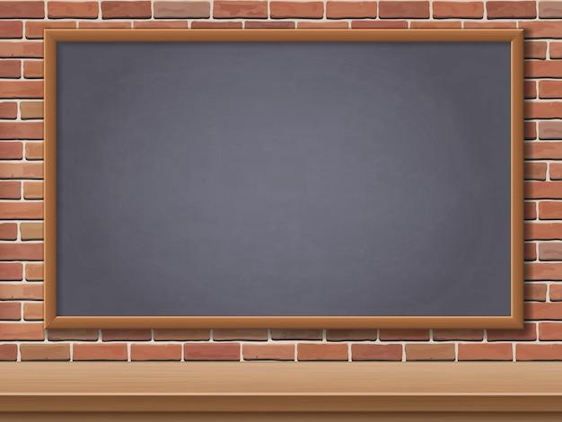 Schultafel und schreibtisch auf backsteinmauerhintergrund. vorlage hintergrund für postkarten zurück in die schule.