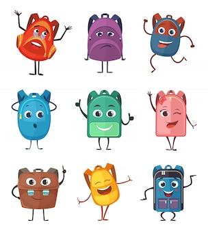 Schultasche charaktere mit unterschiedlichen emotionen.