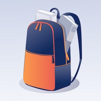 Schultasche mit büchern cartoon auf gradient space