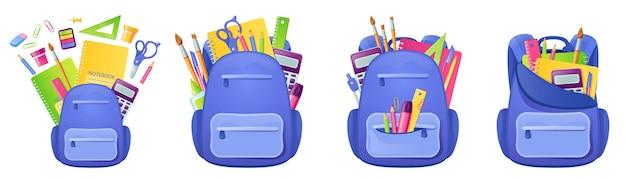Schultasche mit lernmaterial und schreibwaren im rucksack