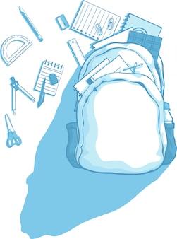 Schultasche mit schulmaterial verstreut herum