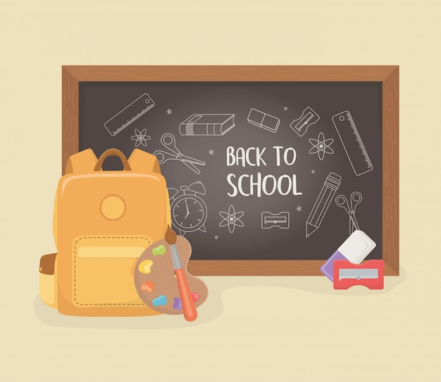 Schultasche mit tafel und zubehör zurück in die schule