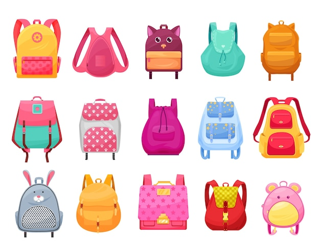 Schultasche und rucksack für mädchen isoliertes cartoon-set. studentinnen rucksäcke und rucksäcke mit reißverschlusstaschen, tiergesichtern, ohren und pfoten, sternen, blumen und schultergurten