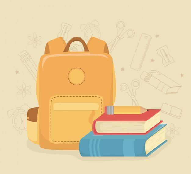 Schultasche und zubehör zurück in die schule