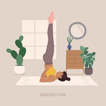 Schulterstand junge frau, die yoga-pose praktiziert