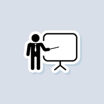 Schulung, präsentationsaufkleber. business-präsentation-icons. enthält den präsentator. lehrer-symbol. üben. seminarzeichen. vektor auf isoliertem hintergrund. eps 10.