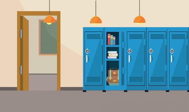 Schulunterricht im klassenzimmer mit schließfachbedarf