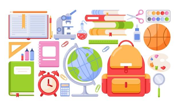 Schulwerkzeuge eingestellt. schulmaterial und zubehör für schüler, schulbuch aus papier, rucksack.