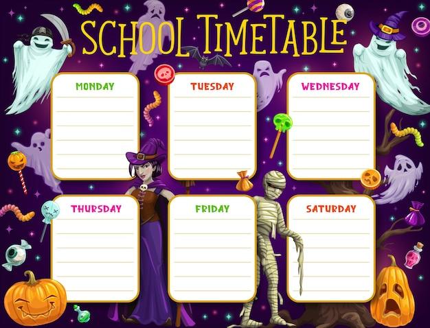 Schulzeitplan, kinderzeitplan oder bildungsplan mit vektorhintergrundrahmen von halloween-monstern. wöchentlicher studienplaner für unterrichts- oder klassendiagramme mit cartoon-horror-kürbissen, geistern und hexe