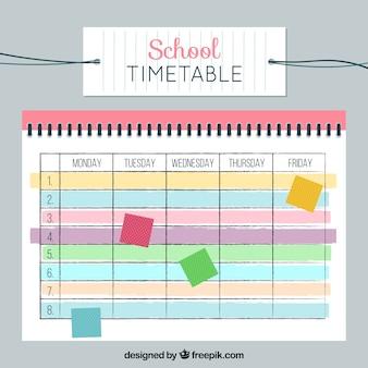 Schulzeitplan mit bunten tönen