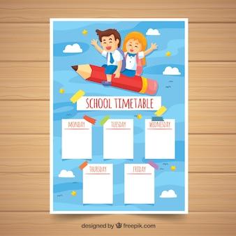 Schulzeitplan mit kindern auf bleistift