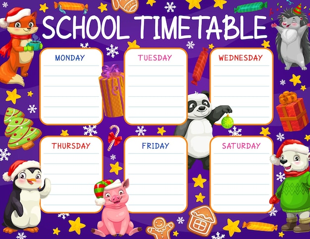 Schulzeitplan oder zeitplan mit weihnachtsgeschenkvektorhintergrundrahmen. wochenplan mit stundenplanvorlage für schüler, bildungsplaner und unterrichtsdiagramm-layouts mit weihnachtsgeschenkboxen und spielzeug