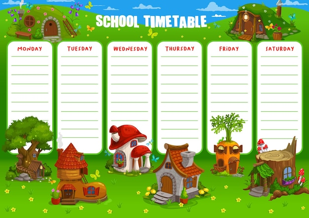 Schulzeitplan zeitplanvorlage illustration design