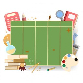 Schulzeitplan zurück zu schule. raumhintergrund mit sternen und schulfächern