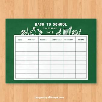 Schulzeitplanschablone in der kreideart
