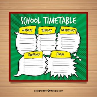 Schulzeitplanschablone mit hand gezeichneter art