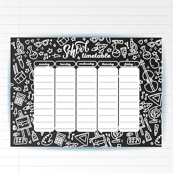 Schulzeitplanvorlage auf kreidebrett mit handgeschriebenem kreidetext und abenteuerseesymbolen. wochenstundenplan in skizzenhaften stil