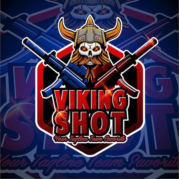 Schuss gaming e sport logo abzeichen