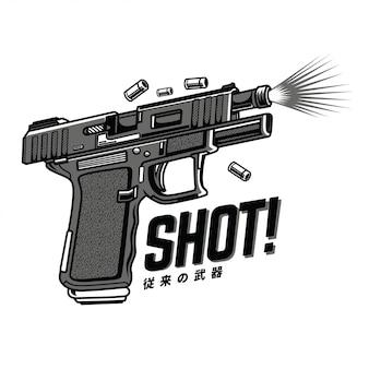 Schuss-schwarzweiß-illustration