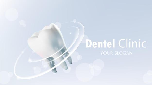 Schutz des gesunden zahnzahns mit leuchtendem effektillustrationsvektor