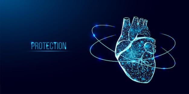 Schutz des menschlichen herzens. wireframe-low-poly-stil. konzept für medizinische wissenschaft, kardiologische krankheit. abstrakte moderne illustration des vektors 3d auf dunkelblauem hintergrund.